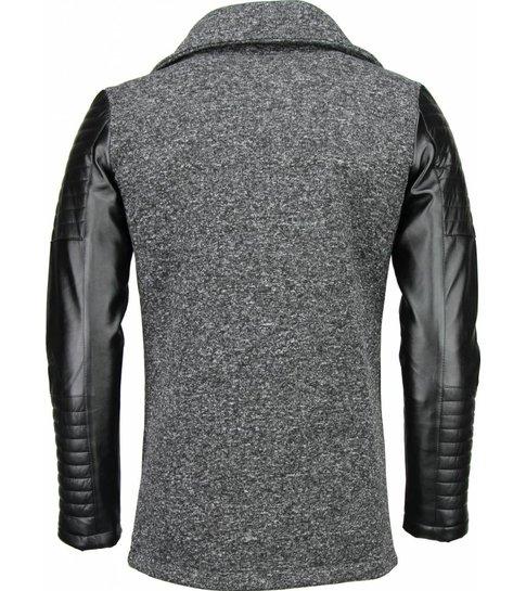 Belman Casual Vest - Long Leather Sleeves - Donker Grijs