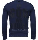 Local Fanatic Trust In My Power! - Rhinestone Sweater - Navy