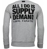 Local Fanatic Al Capone - Rhinestone Sweater - Grijs