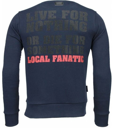 Local Fanatic Rambo - Rhinestone Sweater - Navy