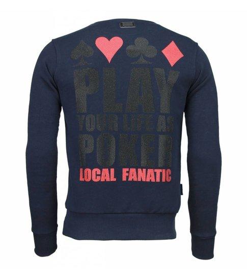 Local Fanatic Hot & Famous Poker - Bar Refaeli - Rhinestone Sweater - Navy