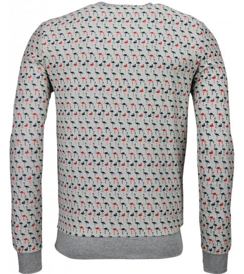 Black Number Flamingo - Sweater - Grijs