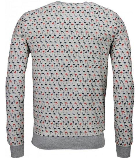 BN8 BLACK NUMBER Flamingo - Sweater - Grijs