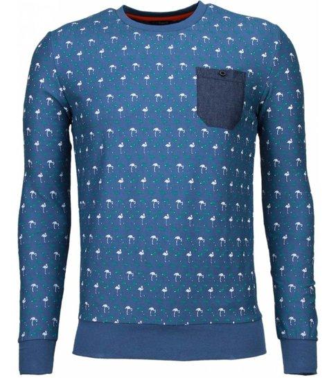 Black Number Flamingo - Sweater - Licht Blauw