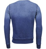 BB  Bread & Buttons Crew Text Borduur - Sweater - Blauw