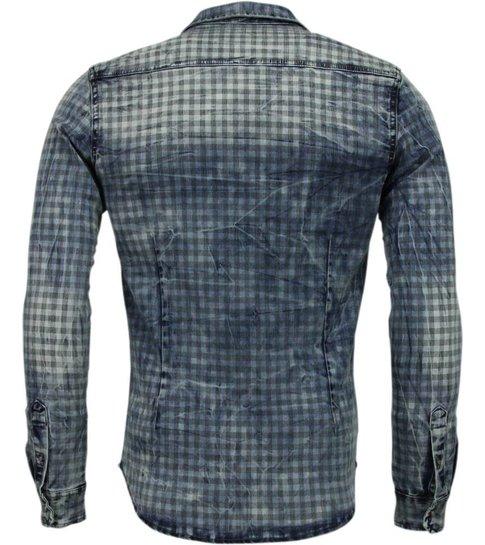 Enos Denim Overhemd - Slim Fit Lange Mouwen Heren - Ruiten Motief - Blauw