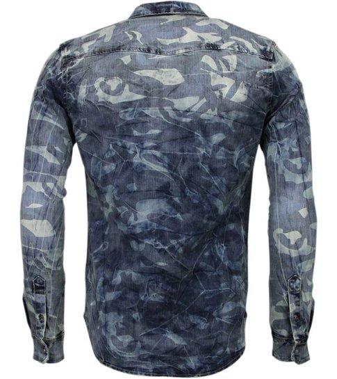 Enos Denim Overhemd - Slim Fit Lange Mouwen Heren - Leger Motief - Blauw