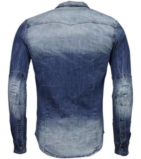 Slim Fit Denim Overhemd.Enos Denim Overhemd Slim Fit Lange Mouwen Heren Basic Denim