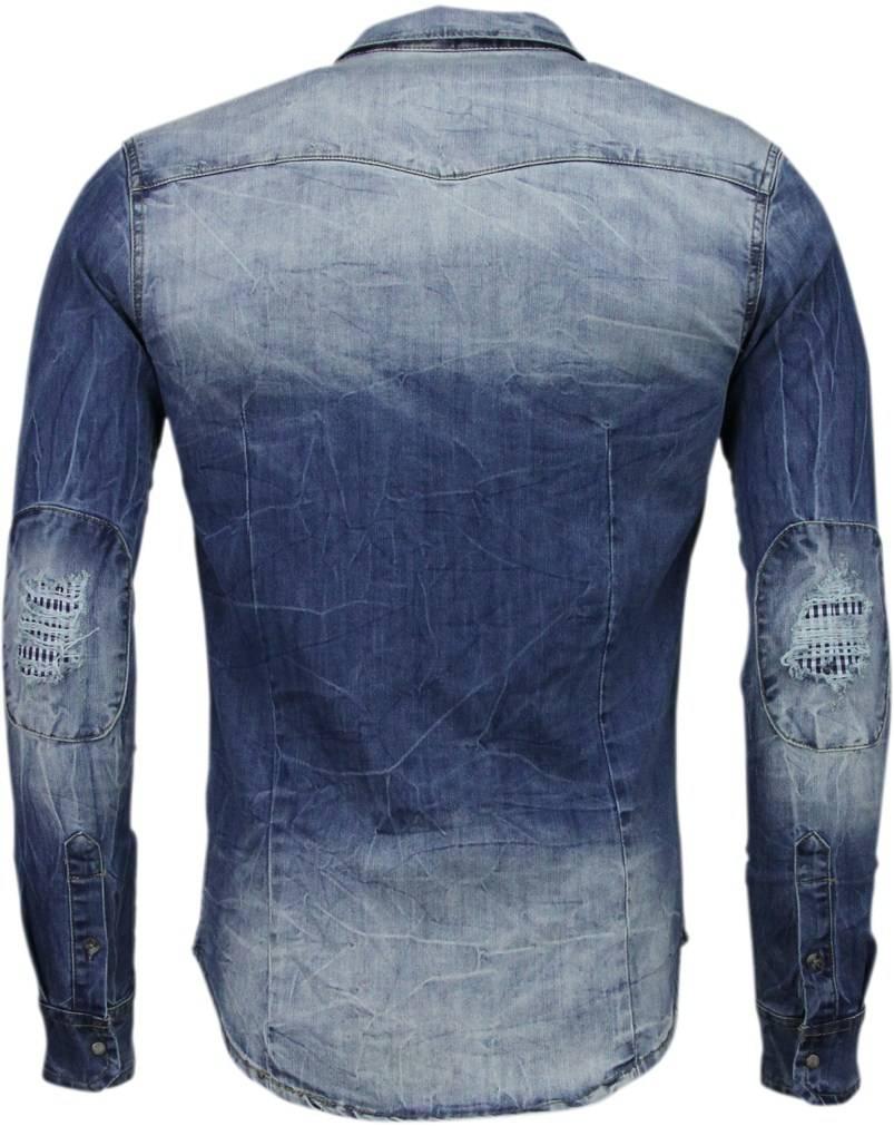 Jeans Overhemd Heren.Enos Denim Overhemd Slim Fit Lange Mouwen Heren Basic Denim