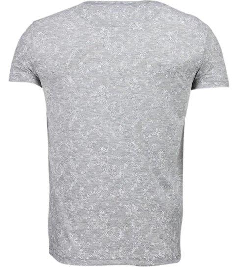 BN8 BLACK NUMBER Blader Motief Summer - T-Shirt - Grijs