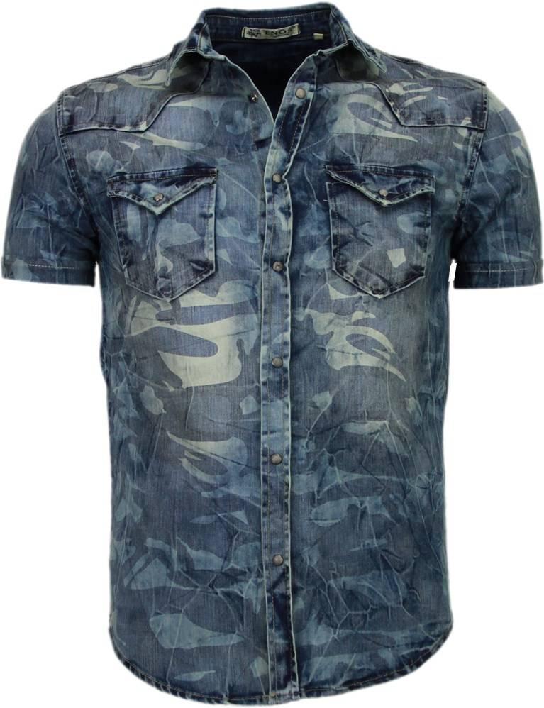 Overhemd Zwart Korte Mouw.Enos Denim Heren Overhemd Korte Mouwen Leger Motief Blauw
