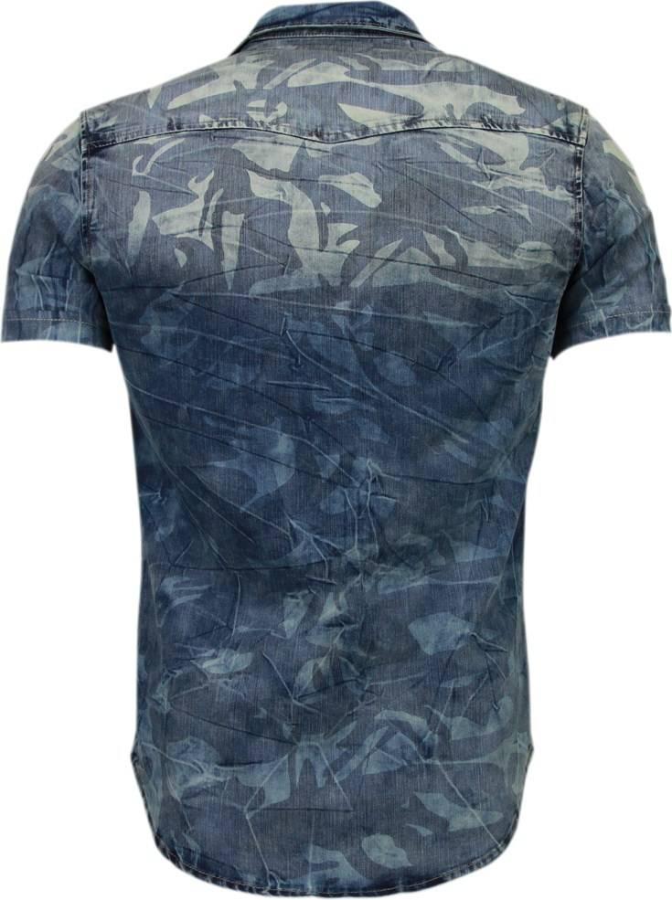 Slim Fit Heren Overhemd.Enos Denim Heren Overhemd Korte Mouwen Leger Motief Blauw