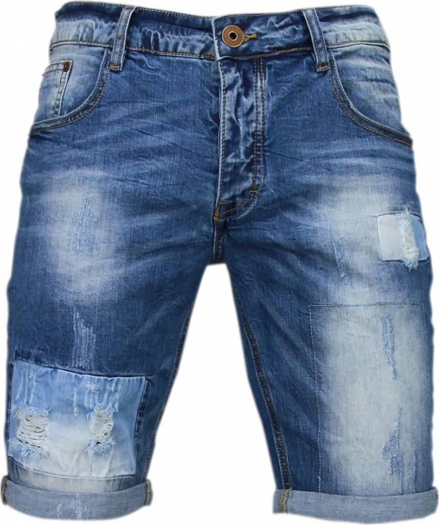 Korte Jeans Broek Heren.Enos Korte Broeken Heren Slim Fit Denim Square Borduur Blauw