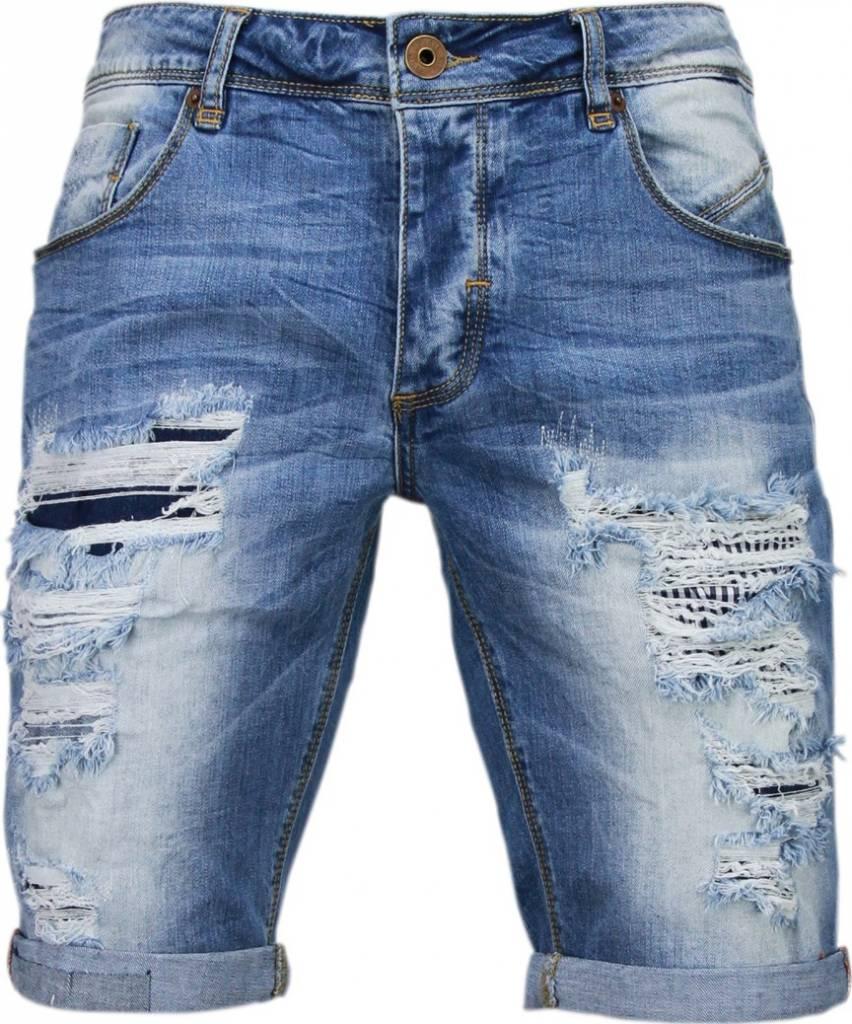 Korte Jeans Broek Heren.Enos Korte Broeken Heren Slim Fit Denim Damaged Short Blauw