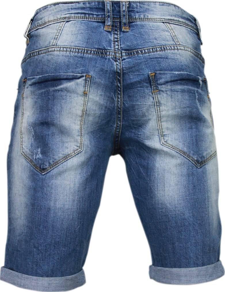 Jeans Korte Broek Heren.Enos Korte Broeken Heren Slim Fit Denim Damaged Short Blauw