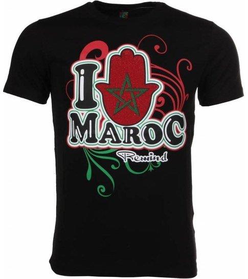 Local Fanatic T-shirt I Love Maroc - Zwart