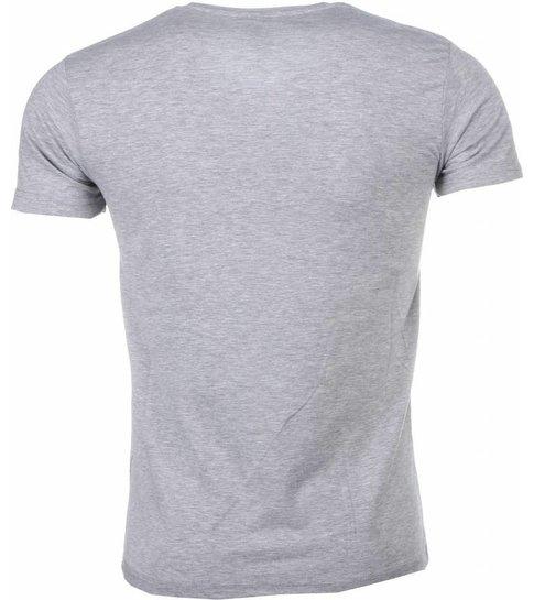 Mascherano T-shirt - Muhammad Ali Panorama Print - Grijs