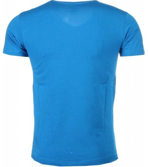 Local Fanatic T-shirt - Superman Dollar Print - Blauw