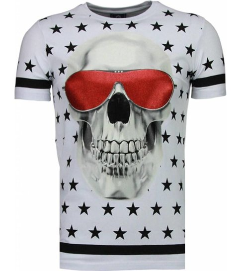 Local Fanatic Star Skull - Rhinestone T-shirt - Wit