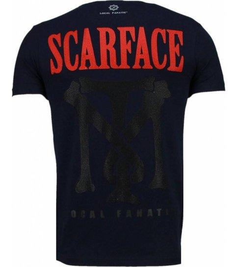 Local Fanatic Scarface Boss - Rhinestone T-shirt - Navy