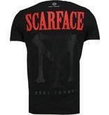 Local Fanatic Scarface Boss - Rhinestone T-shirt - Zwart