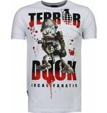 Local Fanatic Terror Duck - Rhinestone T-shirt - Wit