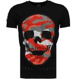 Local Fanatic Army Skull - Rhinestone T-shirt - Zwart