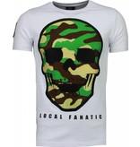 Local Fanatic Army Skull - Rhinestone T-shirt - Wit