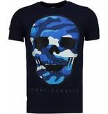 Local Fanatic Army Skull - Rhinestone T-shirt - Navy