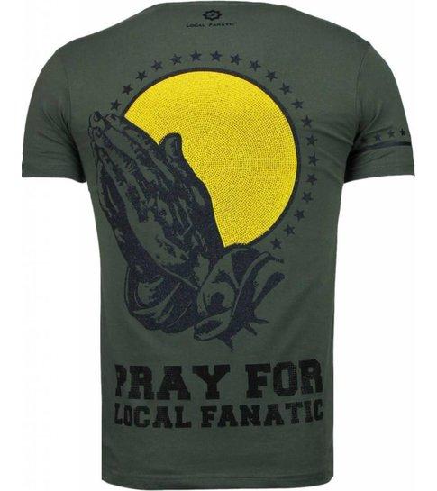 Local Fanatic Jesus - Rhinestone T-shirt - Groen