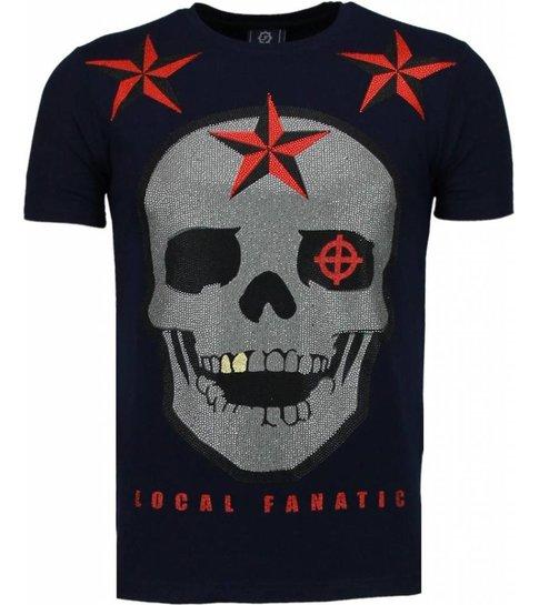Local Fanatic Rough Player Skull - Rhinestone T-shirt - Navy