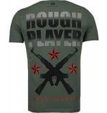 Local Fanatic Rough Player Skull - Rhinestone T-shirt - Groen