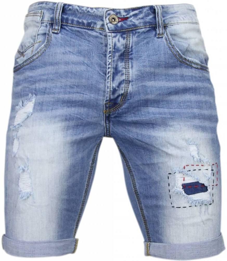 Korte Jeans Broek Heren.Enos Korte Broeken Heren Slim Fit Denim Summer Vibe Blauw