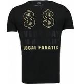 Local Fanatic Hustler - Rhinestone T-shirt - Zwart