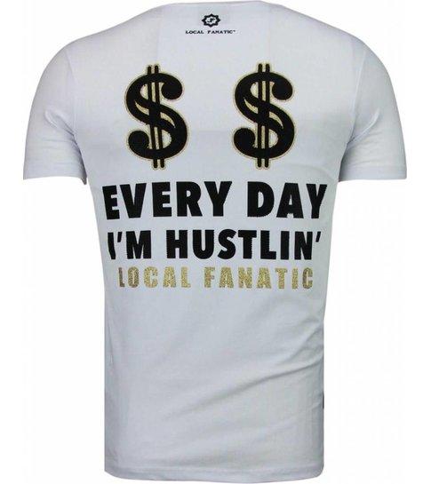 Local Fanatic Hustler - Rhinestone T-shirt - Wit