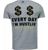 Local Fanatic Hustler - Rhinestone T-shirt - Grijs