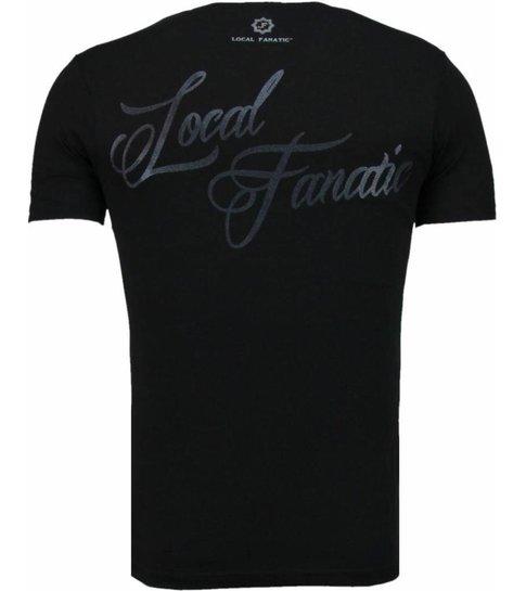 Local Fanatic Holy Mary - Rhinestone T-shirt - Zwart