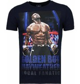 Local Fanatic Golden Boy Mayweather - Rhinestone T-shirt - Navy
