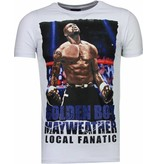 Local Fanatic Golden Boy Mayweather - Rhinestone T-shirt - Wit