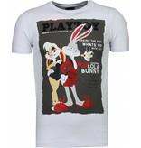 Local Fanatic Playtoy Bunny - Rhinestone T-shirt - Wit