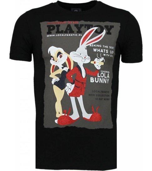 Local Fanatic Playtoy Bunny - Rhinestone T-shirt - Zwart