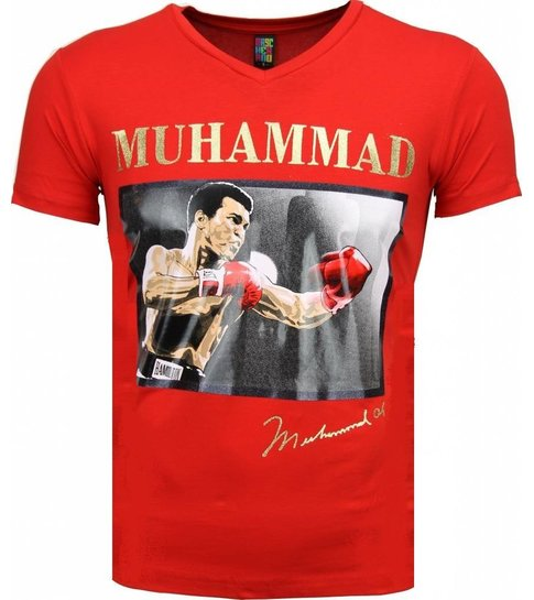 Mascherano T-shirt - Muhammad Ali Glossy Print - Rood