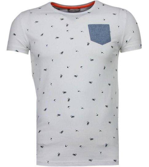 Black Number Flamingo - T-Shirt - Wit