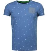 Black Number Flamingo - T-Shirt - Licht Blauw