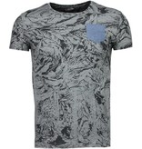 BN8 BLACK NUMBER Forrest Motief - T-Shirt - Grijs/Zwart