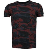 TONY BACKER Camouflage Print Ribbel - T-Shirt - Bordeaux
