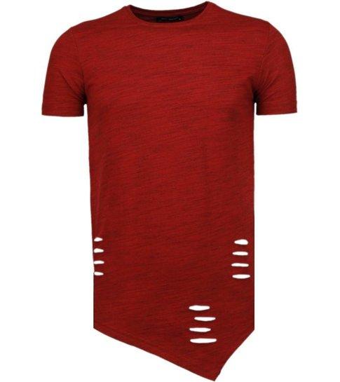 TONY BACKER Sleeve Ripped - T-Shirt - Rood