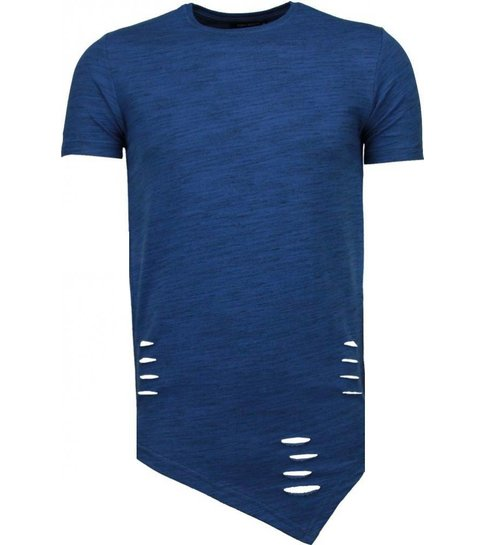 TONY BACKER Sleeve Ripped - T-Shirt - Navy