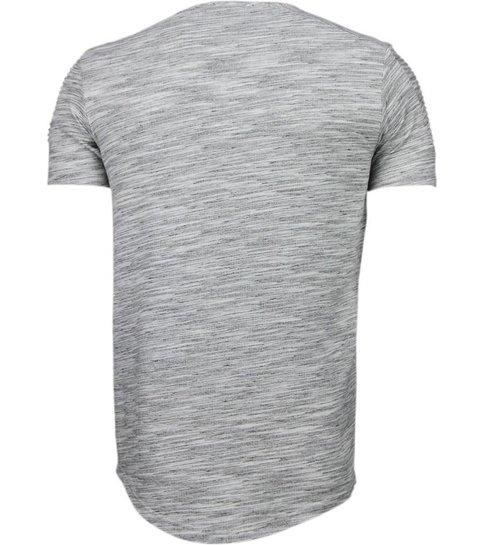 TONY BACKER Sleeve Ribbel - T-Shirt - Grijs
