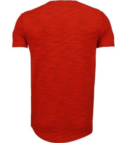 Tony Brend Sleeve Ribbel - T-Shirt - Rood